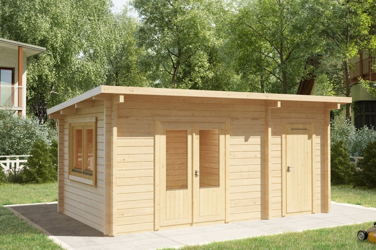 Garden room and shed combined super tom 44mm 3 x 5 m for Large garden buildings