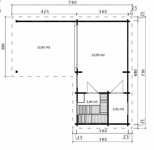 Corner Sauna A ground plan