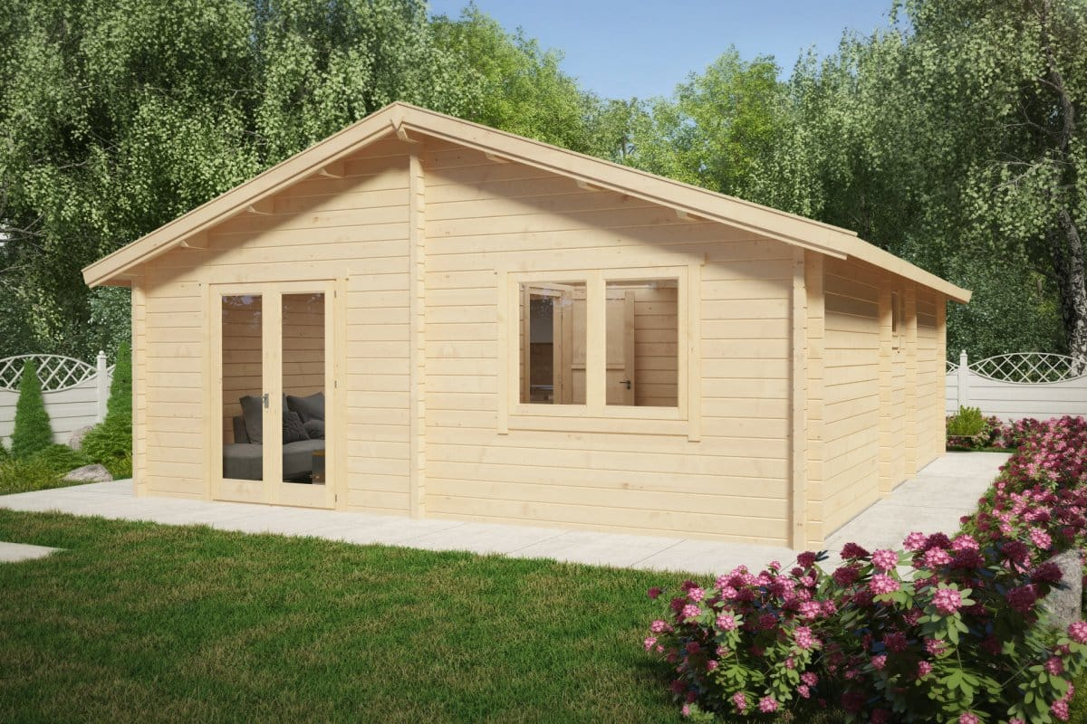 Two bedroom log cabin summer house ireland 43m2 70mm 6 for Two room log cabin