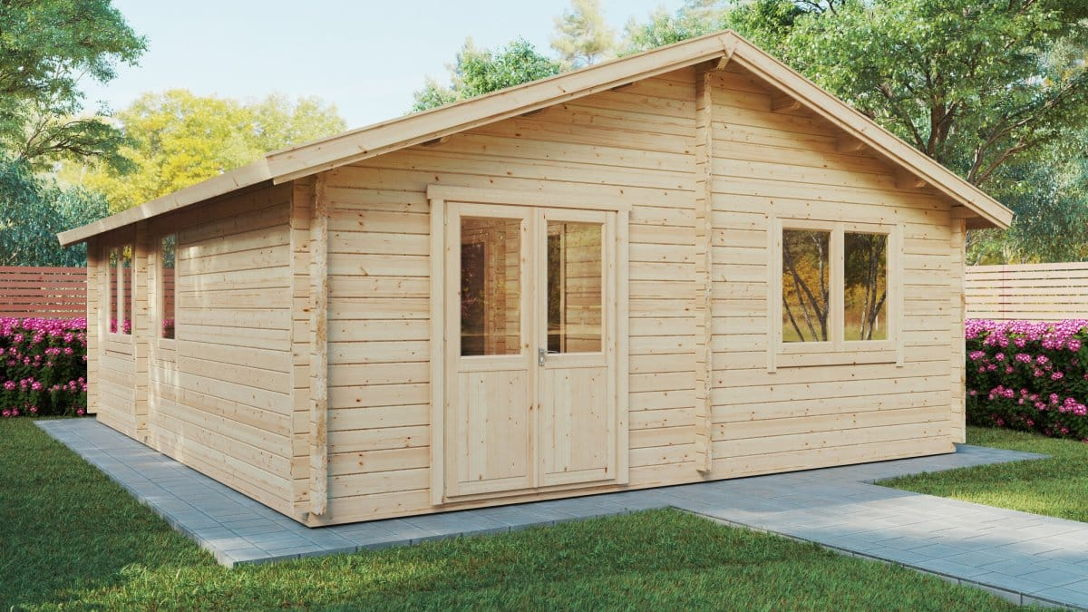 Two Bedroom Log Cabin Summer House Ireland 43m2 70mm 6 X 7 M Summer House 24