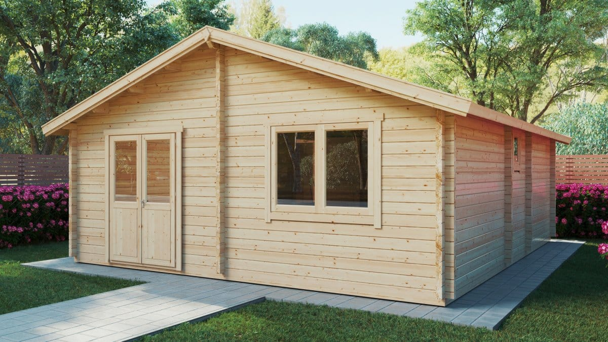 Two bedroom Log Cabin Summer House Ireland 43m2 / 70mm / 6 x 7 m