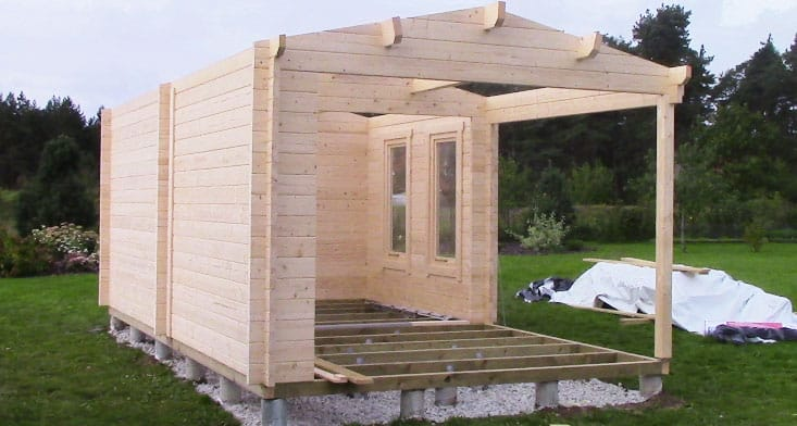 What are the most popular base types for garden buildings for Building a house on piers