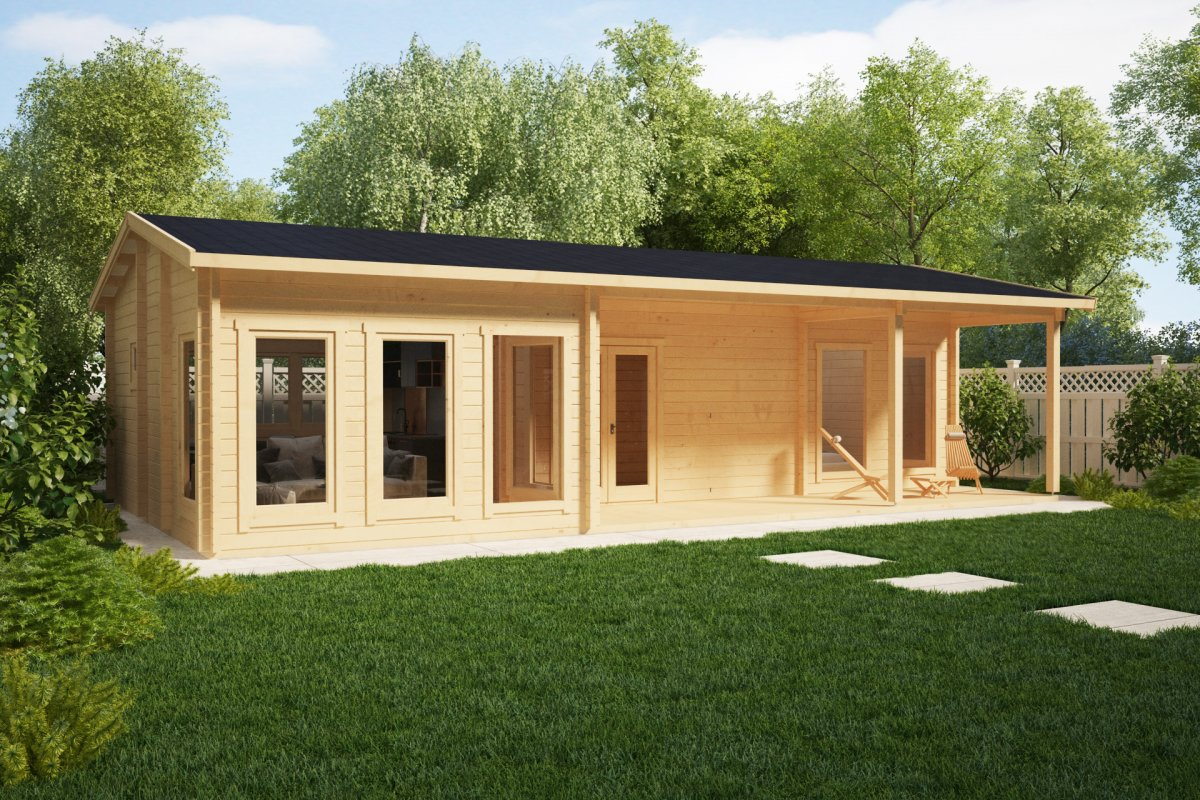 Large log cabin summer house hansa holiday c 50m2 6 x for Large garden room