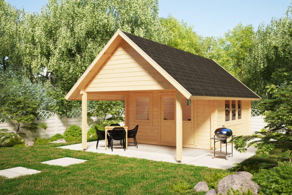 Garden Log Cabin Mark 16m2 4x4m 44mm Summer House 24