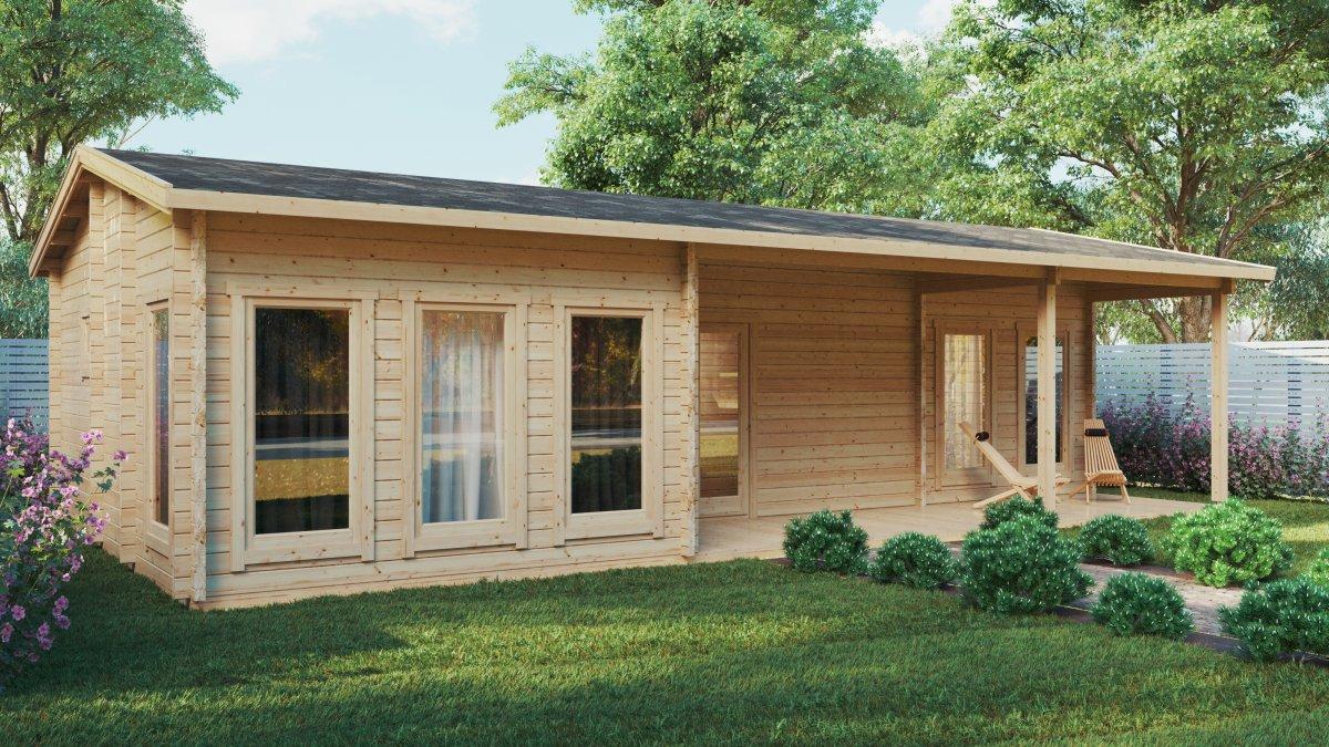 Large Log Cabin Summer House Hansa Holiday C 50m2 / 6 x 11m / 70mm