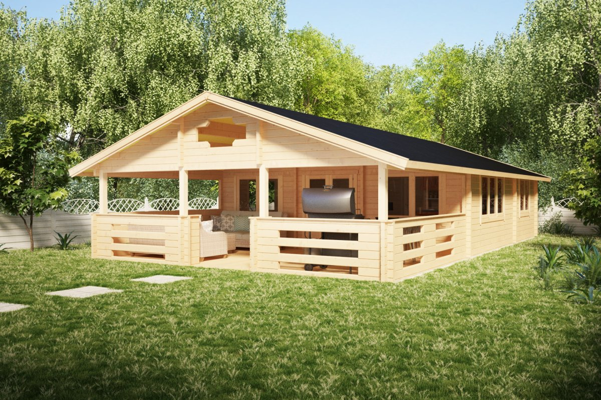 Two bedroom log cabin holiday f 50m2 7 x 12 m 70mm for Two bedroom log homes