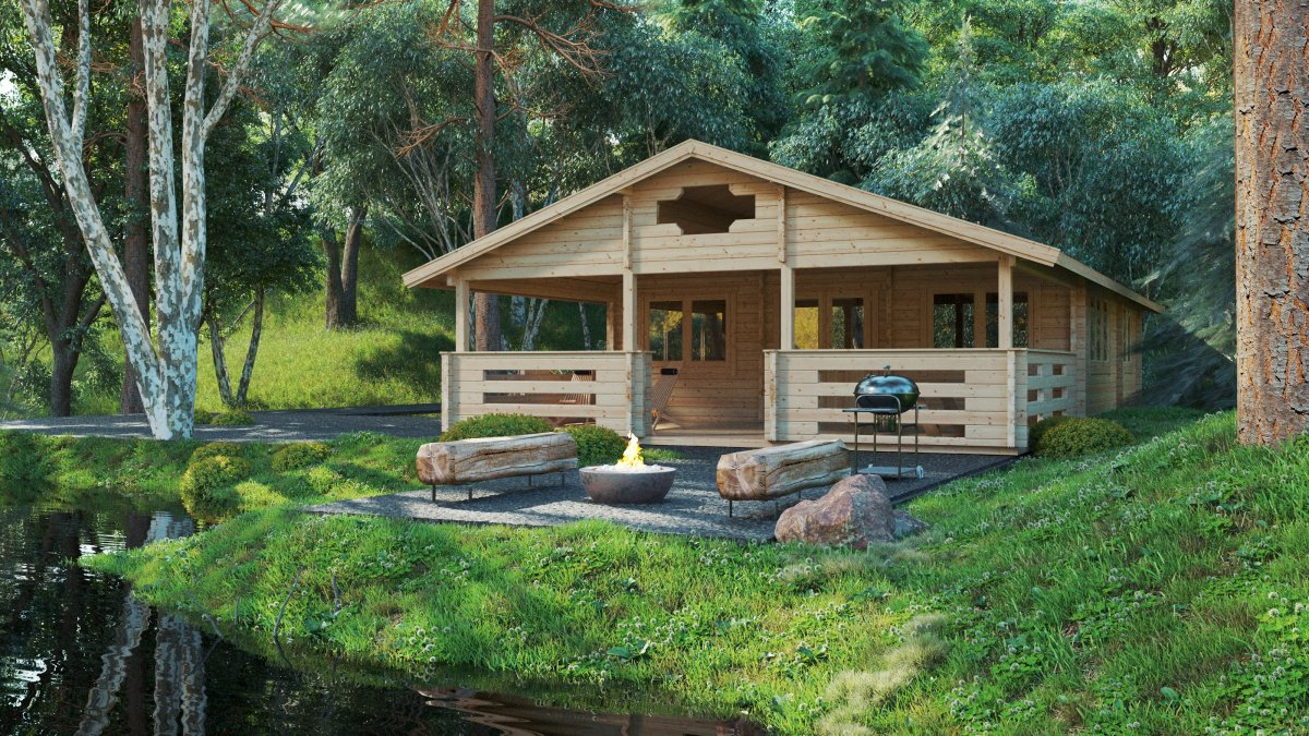 Two Bedroom Log Cabin Holiday F 50m2 / 7 x 12 m / 70mm