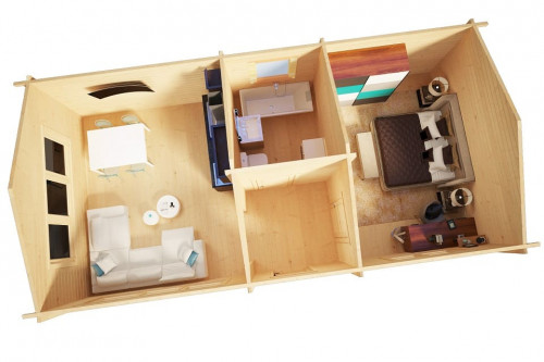 One Bedroom Log Cabin Hansa Holiday H 38m2 / 4,5 x 9 m / 70mm