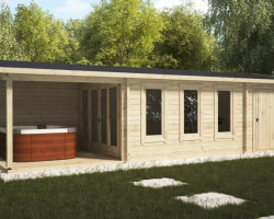 Garden Room with Veranda and Shed Super Eva E 18 m2 / 9 x 3 m / 44 mm