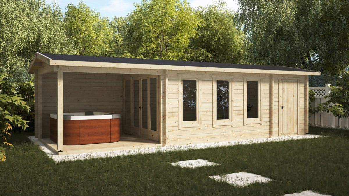 Garden room with veranda and shed super eva e 18 m2 9 x for Garden shed 2 rooms