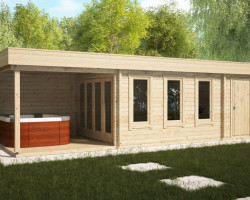 Garden Room with Shed and Veranda Super Jacob E 18m² / 44mm / 9 x 3 m