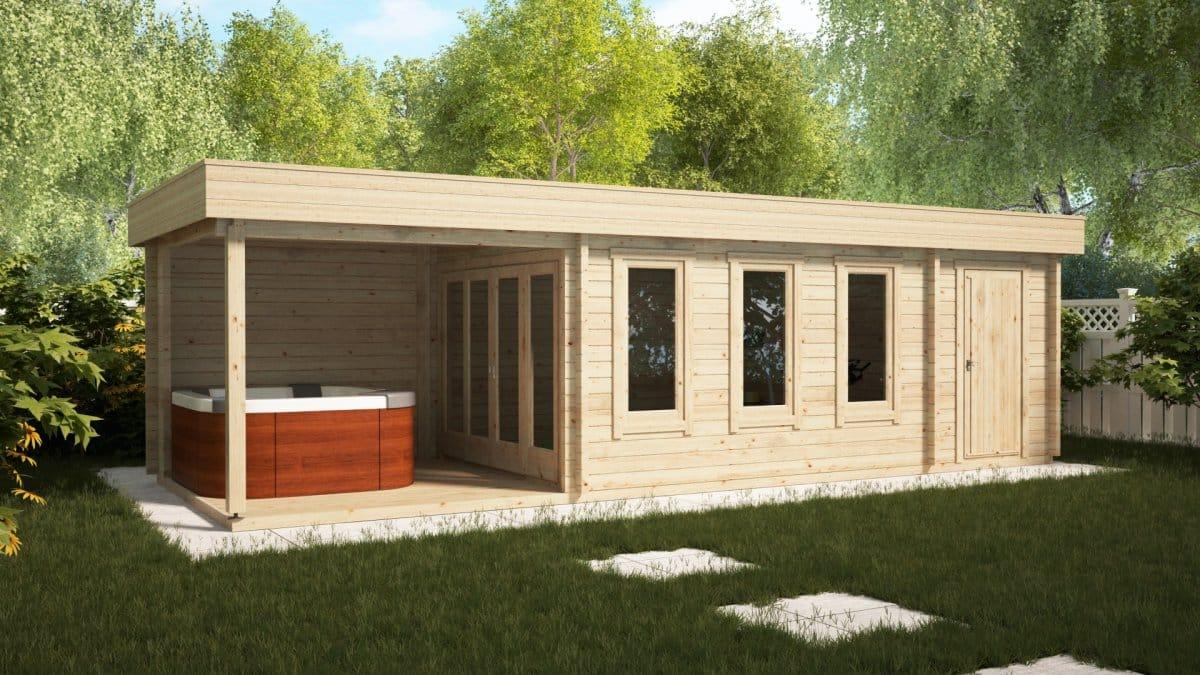 Garden room with shed and veranda super jacob e 18m 44mm 9 x 3 m summer house 24 - Garden summer houses with verandas ...