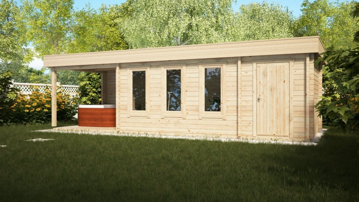 Garden room with shed and veranda super jacob e 18m for Garden shed 2 rooms