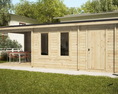 Garden Room Super Nora E with Veranda and Shed 15 m2 / 8 x 3 m / 44 mm