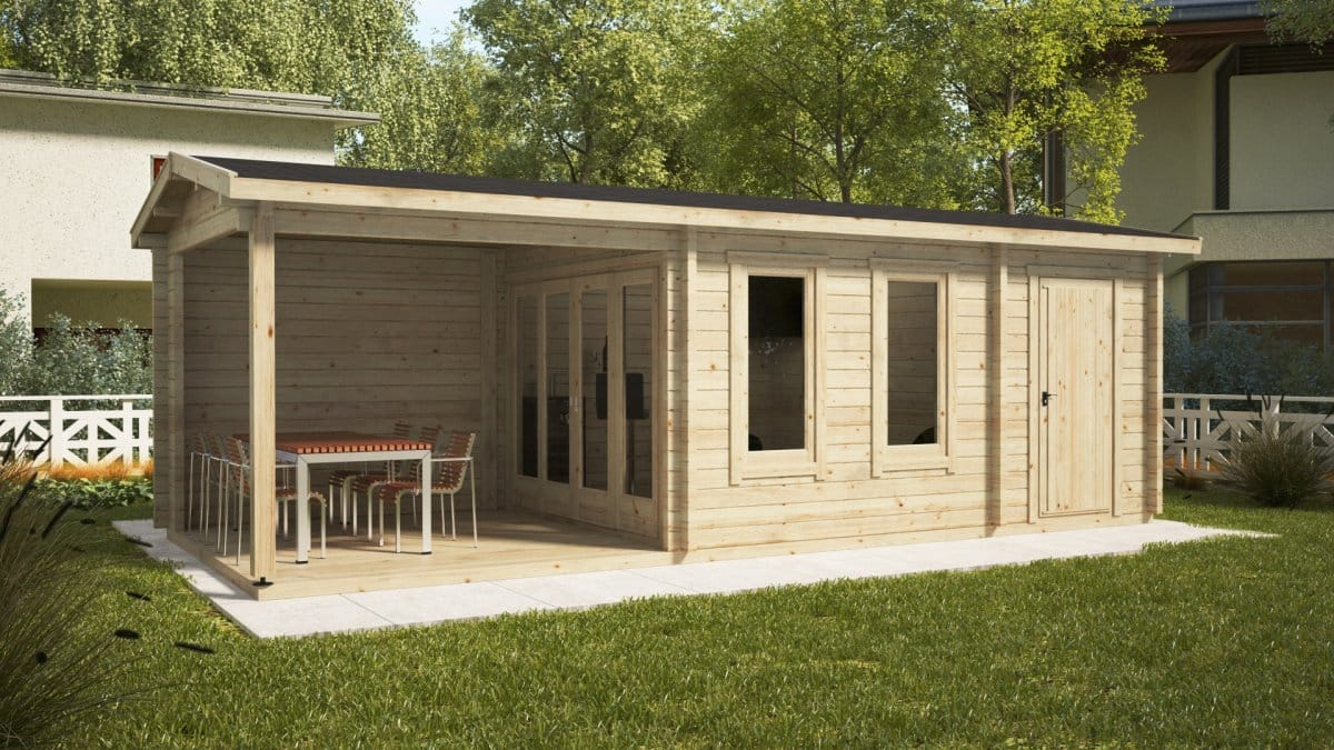 garden room super nora e with veranda and shed 15 m2 8 x 3 m 44 mm summer house 24. Black Bedroom Furniture Sets. Home Design Ideas