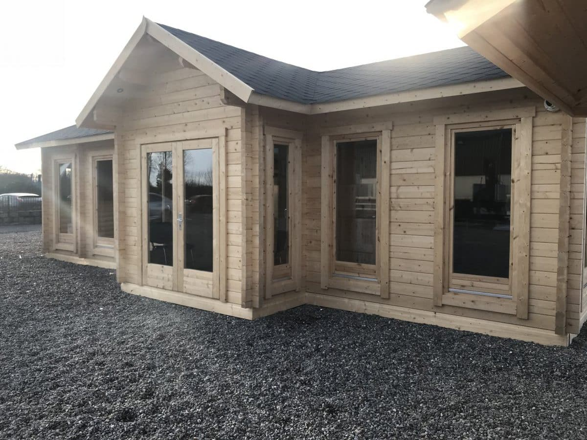 Large Garden Log Cabin The Hansa Office 40m2 70mm 4 X
