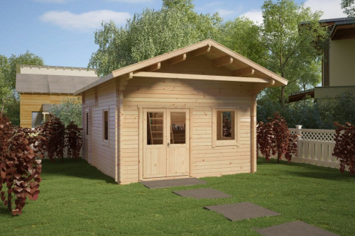 Log Cabin with sleeping loft Gotland F 33m2 / 70mm / 6 x 4 m