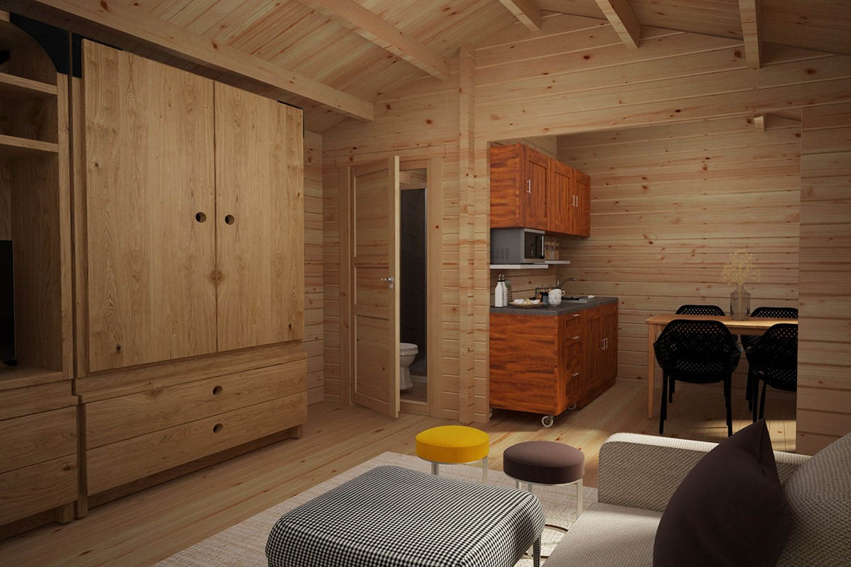 Wooden Lodge with Bathroom Sweden A 23m2 / 6 x 4 m / 70mm