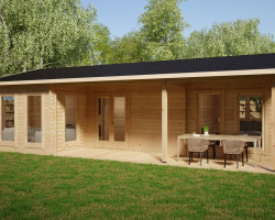 Timber Lodge with two bedrooms Holiday K 40 m2 / 6 x 10 m / 70mm
