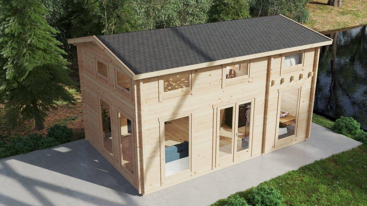 Wooden Lodge with Sleeping Loft Sweden B 30m2 / 6 x 4 m / 70mm