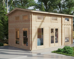 Wooden Lodge with Sleeping Loft Sweden B 30m2 / 6 x 4 m / 70mm