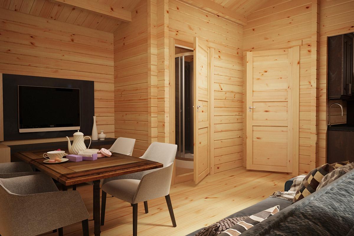 Wooden Lodge with Bathroom Sweden C 22m2 / 6 x 4 m / 70mm