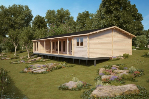 Three Bedroom Log Cabin Holiday L 92mm / 96m2 / 7 x 18 m