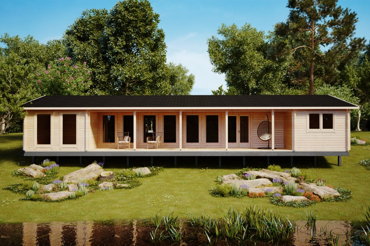 Three Bedroom Log Cabin Holiday L 92mm / 96m2 / 7 x 18 m