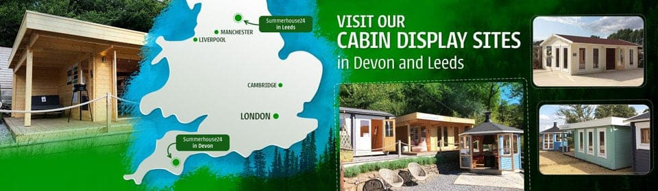 Large and attractive log cabin and garden building display sites.