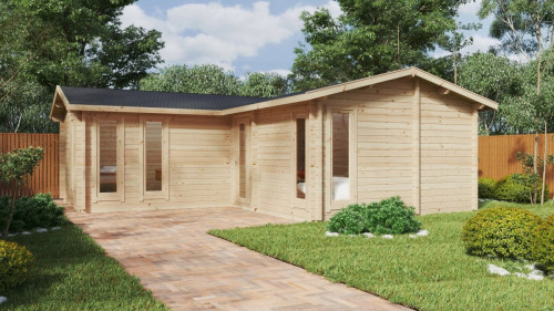 Corner Log Cabin with One Bedroom Devon-1 / 40m2 / 70mm