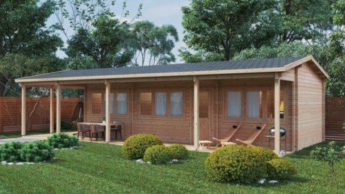 Two bedroom log cabin with large veranda Edward 37m2 / 6 x 13 m / 70mm