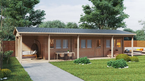 Two bedroom log cabin with large veranda Edward 37m2 / 6 x 13 m / 70mm