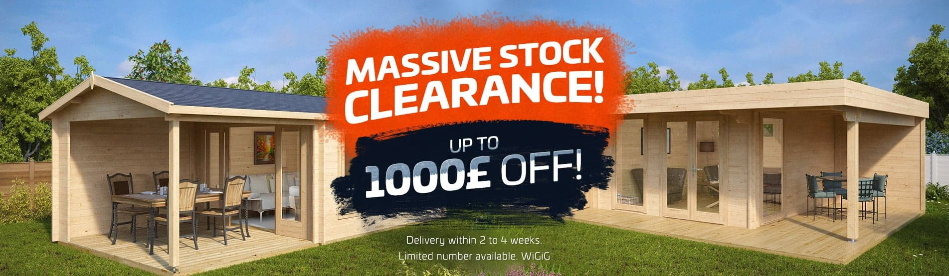 Massive Stock Clearance - up to 1000 pounds off!