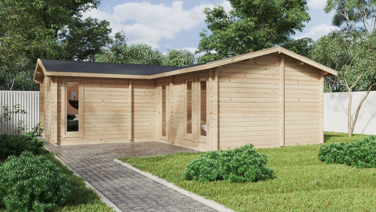 Corner Log Cabin with Two Bedrooms Devon-2 / 40m2 / 70mm