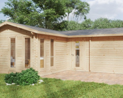 Large garden log cabin with sauna Devon-3 / 40 m2 / 70mm