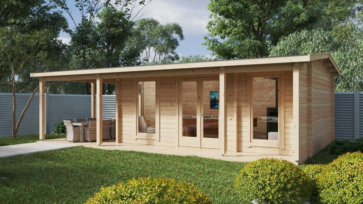 Garden Room with Veranda Hansa Studio XXL 21 m2 / 5 x 9 m / 70 mm
