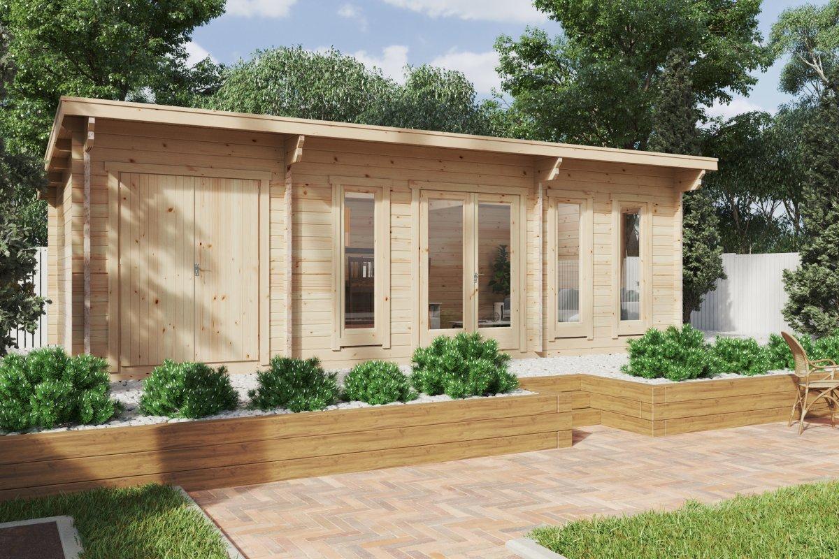 Garden Log Cabin with Storage Room Barbados Plus 28m2 / 44mm / 8 x 4 m