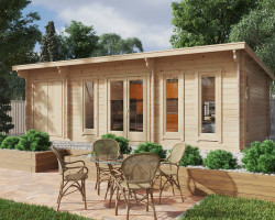 Garden Log Cabin with Storage Room Barbados Plus 28m2 / 44mm / 8 x 4 m