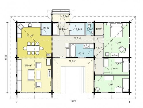 Log cabin Tania-120 floorplan