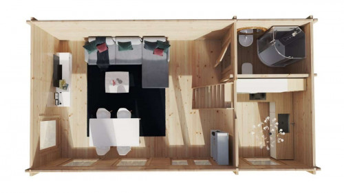 Log Cabin with Sleeping loft Sweden B XL 35m2 / 7 x 4 m / 70mm