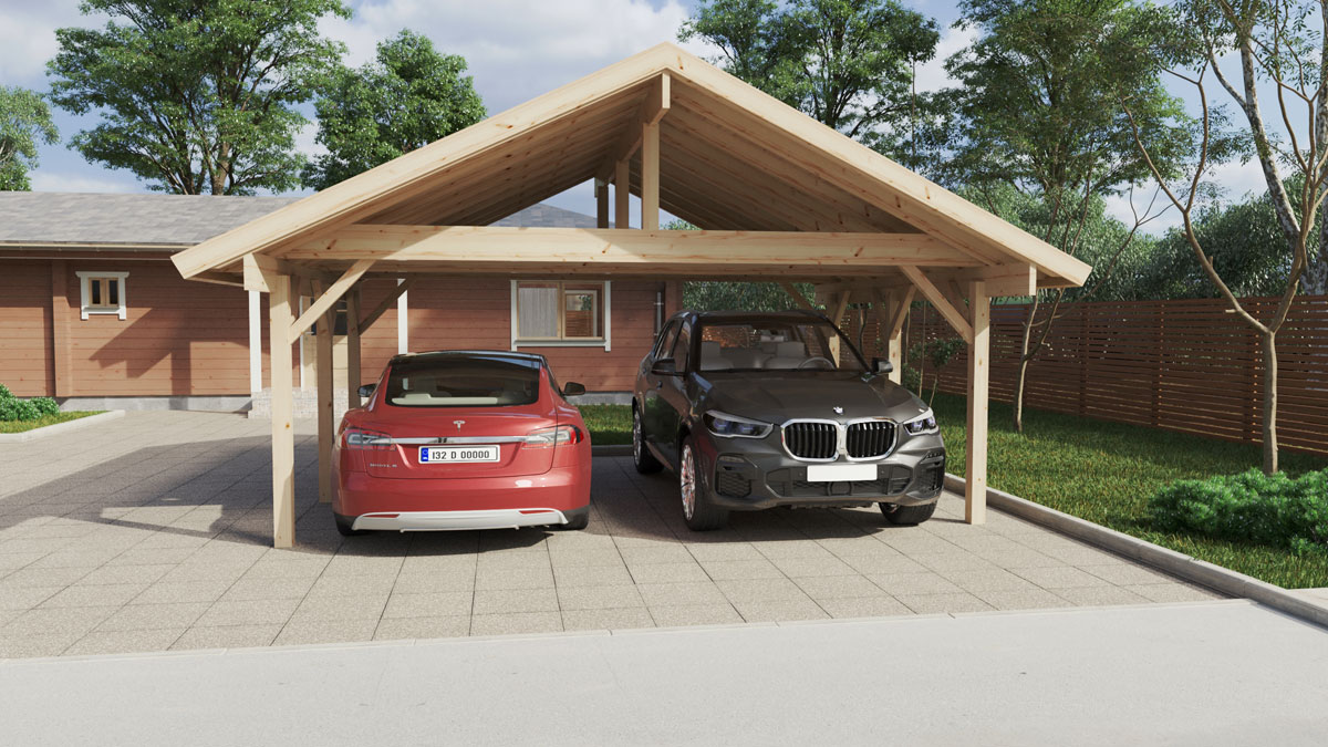Wooden Carport Henley XL