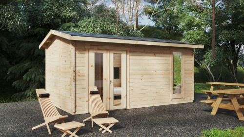 Wooden Lodge Mia 1 with internal shower room WC / 5 x 3 m / 15m2 / 44mm