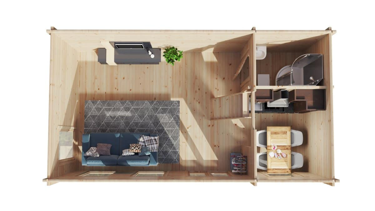 Timber Cabin with sleeping loft Sweden F 35m2 / 7×4 m / 70 mm