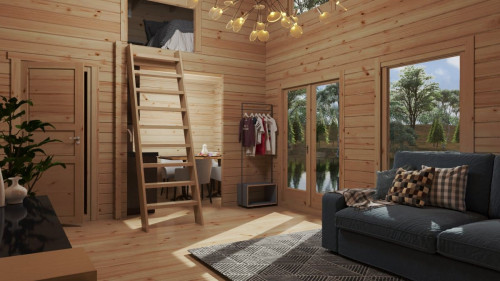 "Timber Cabin with sleeping loft ""Sweden F"" 35m2 / 7×4 m / 70 mm"