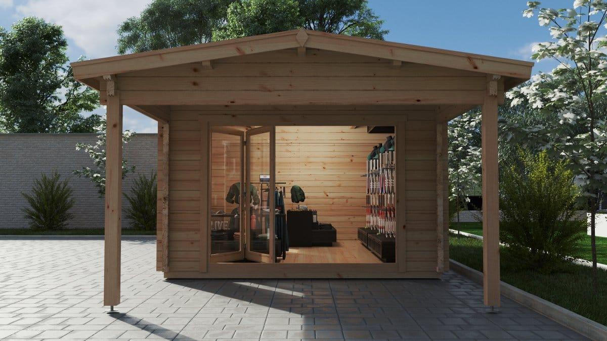 Large Garden Log Cabin with Premium Folding Doors David-2 / 4 x 8 m / 19m2 / 70mm