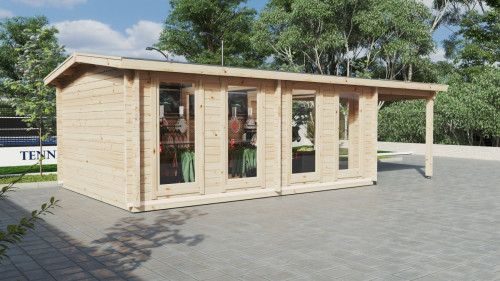 Large Garden Log Cabin with Premium Folding Doors David-2 / 4 x 8 m / 19m2 / 70mm