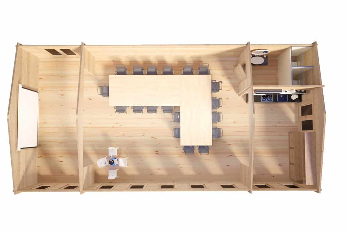 Timber Cabin Classroom-Conference Room / 14 x 7 m / 88 mm / 93 m2