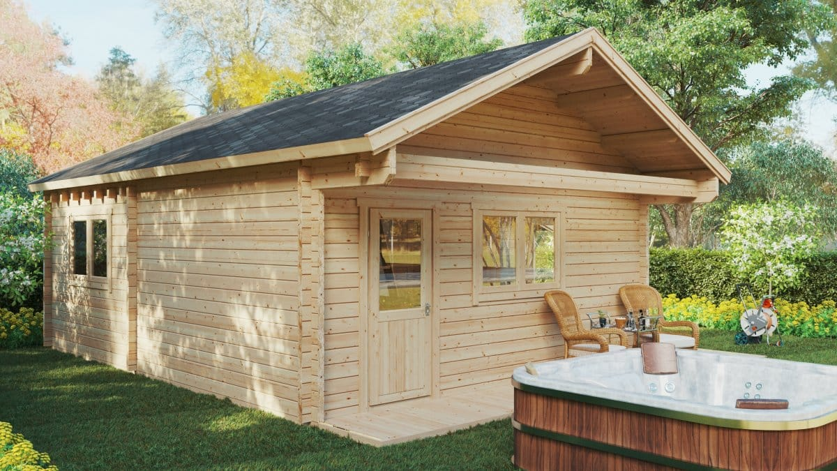 Two Bedroom Wooden Lodge with Sleeping Loft Dallas / 42 m2 / 7x7m / 70mm