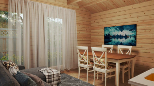 One Bedroom Timber Lodge Holiday M / 8 x 4 m / 30 m2 / 70mm