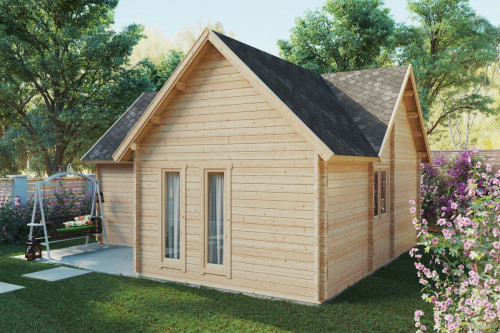 One Bedroom Log Cabin with Sleeping Loft Hansa Holiday Q 55m2 / 70mm